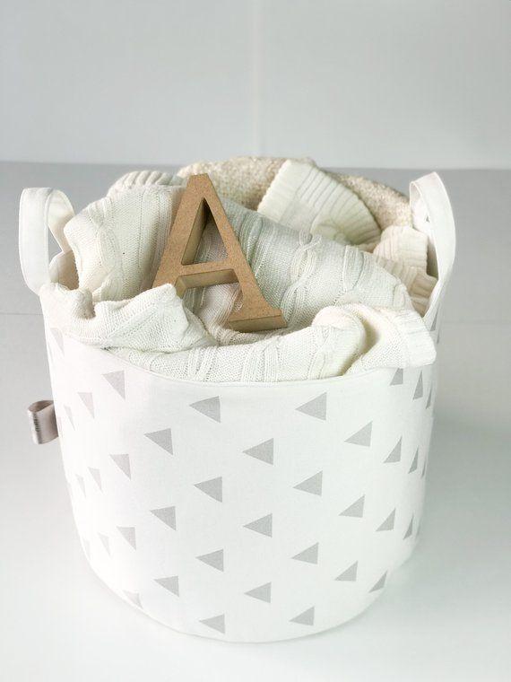 Nursery Decor Grey Storage Basket Fabric Toy Bag Baby Laundry