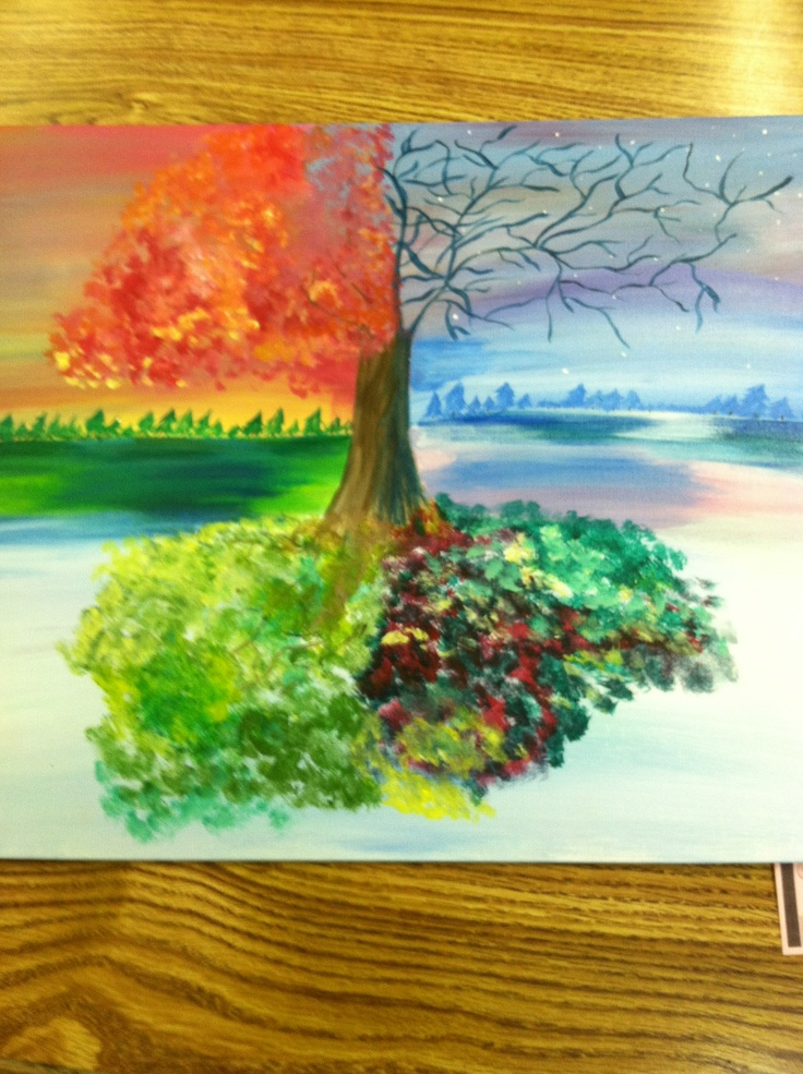 Two worlds connected by a tree ... Painted by: Shayla Mulleneaux