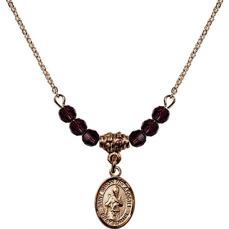 18-Inch Hamilton Gold Plated Necklace with 4mm Purple February Birth Month Stone Beads and Saint Simon the Apostle Charm. 18-Inch Hamilton Gold Plated Necklace with 4mm Amethyst Birthstone Beads and Saint Simon the Apostle Charm. Purple represents Amethyst, the Birthstone for February. Hand-Made in Rhode Island. Lifetime guarantee against tarnish and damage. Hamilton gold is a special alloy designed to have a rich and deep gold color.