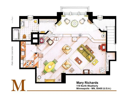 . This is a the floorplan of Mary Richards (first) apartment from The Mary Tyler Moore Show. . This is a hand drawed plan, in scale, coloured