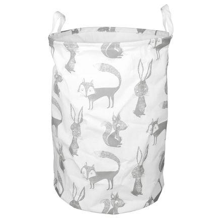 Forest Friends Nursery Laundry Basket or Storage Bin in Gray, Cotton Blend by Eightmood