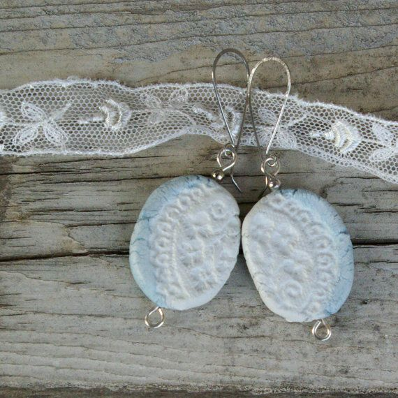 unique earings, vintage lace look, hand formed and hand painted bead, hand formed surgical steel ear wires FREE SHIPPING