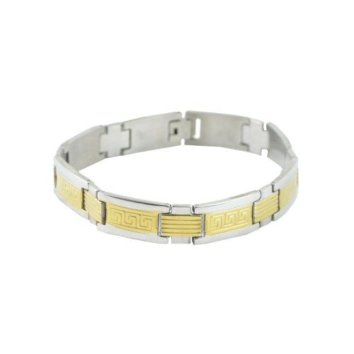 """ALPHA MAN Dual Tone """"Masterpiece in Motion"""" Theme Surgical Stainless Steel Gold Bracelet for Men - Online Shopping for Bracelets n Bangles by ALPHA MAN"""