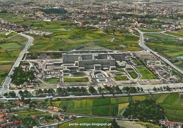 PORTO vista aérea & Hospital de S. João - Anos 1960 postal antigo PORTUGAL OPORTO