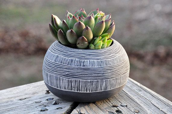 Orb Shaped Black + White Ceramic Planter with Layered Line Pattern // Succulent Planter // Cactus Planter // Table Planter
