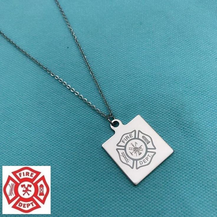 Firefighter Square Symbol Charm Silver Chain Necklace