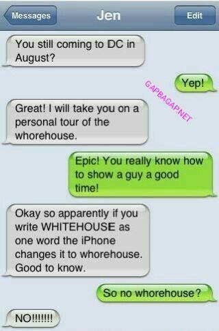 Hilarious Autocorrect Fail About whitehouse vs. Whorehouse