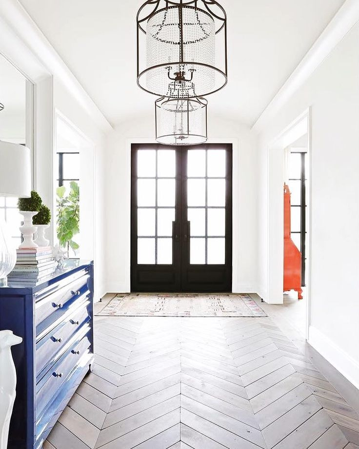 Beautiful Entryway Featuring Double Front Doors Hanging Light Fixtures And Chevron Flooring: 1751 Best Images About GREAT EXTERIORS On Pinterest