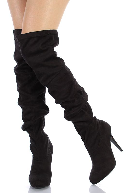 5347b358a35 Black suede thigh high boot