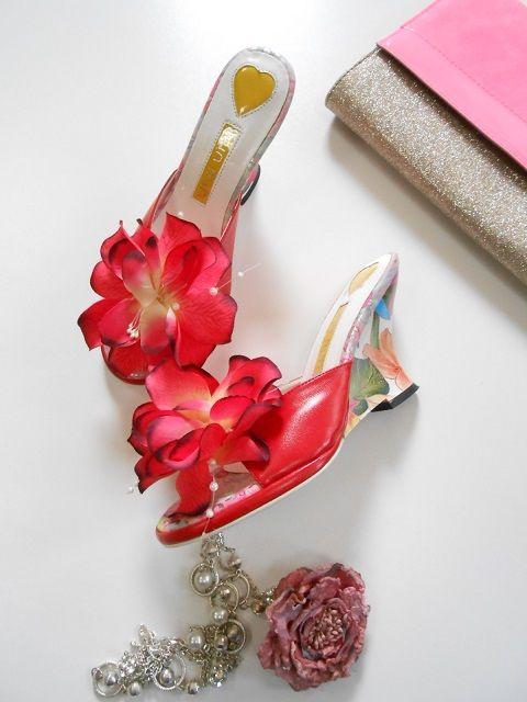 miu miu sandalki klapki czerwone kwiat 37 nowe 4