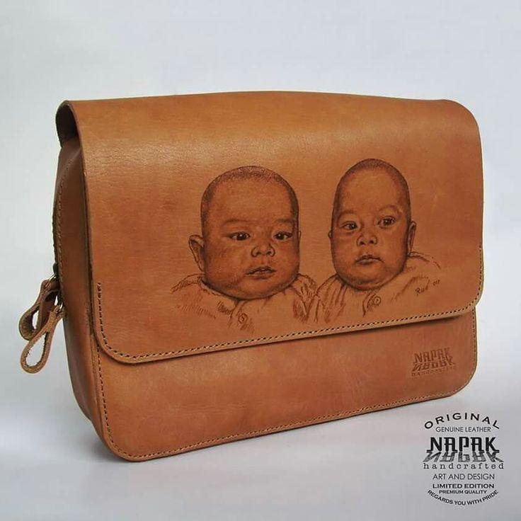 Organizer pouch self portrait Custom Original genuine leather Bag Design by Rudayat Roy Drawing by rudayat (Visual Artist) Made in Bandung Indonesia (west java) whatsapp +6281322365446