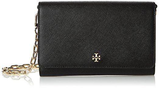 Tory Burch Women's Robinson Purse #bag black Schwarz in #Black Leather with #Gold Hardware. This would make a stunning special #Gift for her | #Ad
