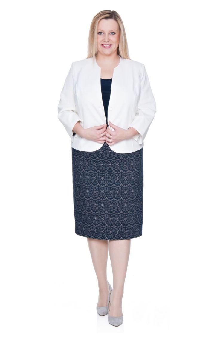 Elastyczna granatowa spódnica we wzór - Modne Duże Rozmiary