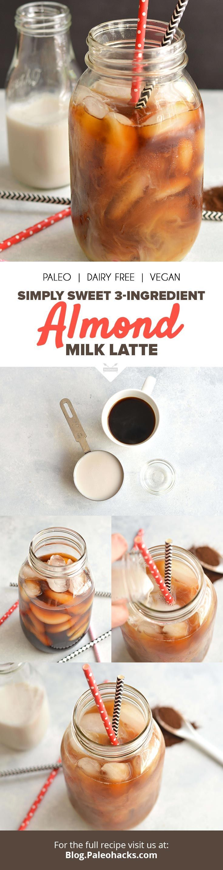 This Sweet Iced Almond Milk Latte, perfect for an afternoon pick-me-up, is made with just three Paleo-friendly ingredients! Get the recipe here: http://paleo.co/almondlattercp