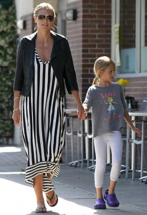 Heidi Klum wearing Ariel Gordon Jewelry Crescent Moon Necklace, Tom Ford FT0144 Marko Sunglasses, Yosi Samra Black flip flops,