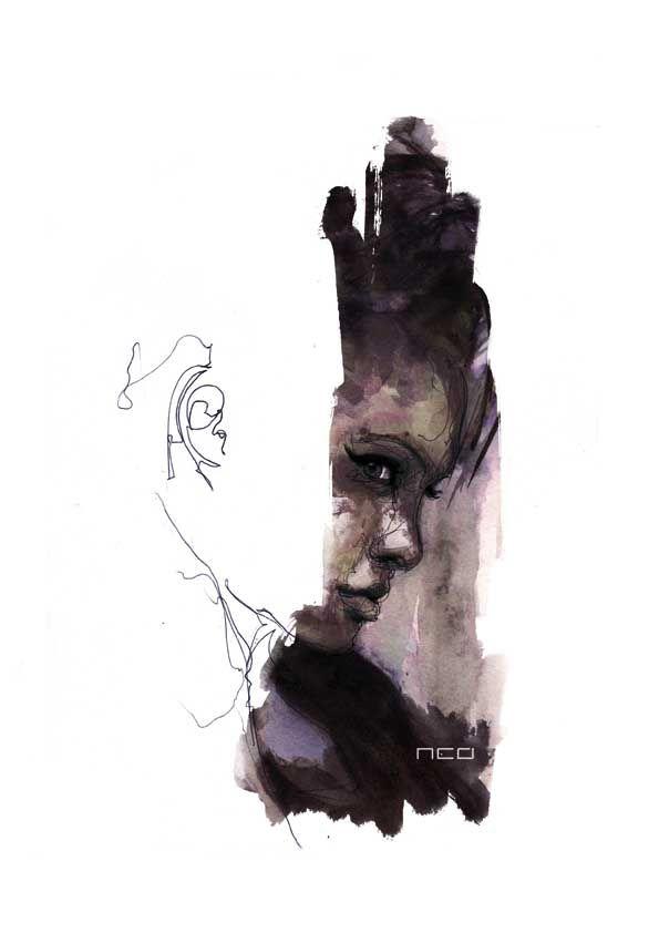 Artist Florian Nicolle creates amazing, mixed media portraits.