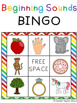Beginning Sounds BINGO Game: For whole group or small group