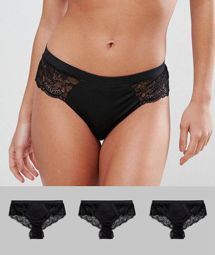 ASOS 3 Pack Microfibre & Lace French Underwear - Black