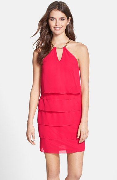Laundry by Shelli Segal Tiered Chiffon Popover Dress available at #Nordstrom