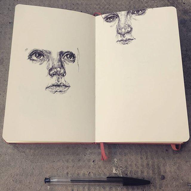 Break time, very quick sketches #art #artist #drawing #sketch #ink #quick #break #practice #exercise #pen #ballpoint #ballpointpen #notebook #sketchbook #moleskine #realism #faces #portrait #woman #selfportrait #eyes #graphic #illustration #blackandwhite #monochrome #marco