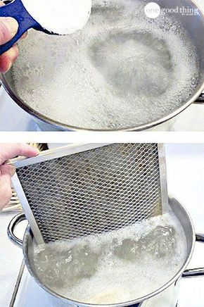 GREASY STOVE FILTER! Haul out your biggest pot, fill it with water and bring it to a boil. Thenadd 1/2 cup of BAKING SODA….VERY SLOWLY!Literally, you have to add it about a tablespoon at a time because itIMMEDIATELYfizzes up quite alarmingly! (The fizz goes right away.) Then take your caked-with-grease filter and submerge it in the pot. (Well, 1/2 of it anyway.)