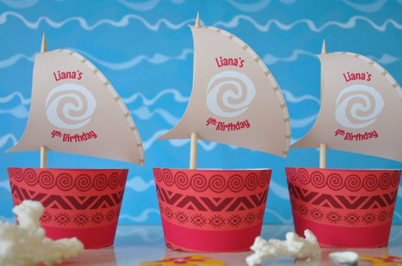 Moana Polynesian inspired cupcake wrappers and sail toppers for birthday party PERSONALISED pdf printable file