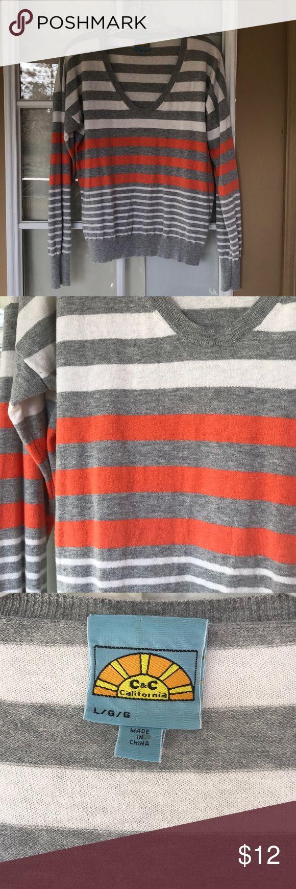 C&C Striped Sweater V neck striped sweater. Soft, discount on bundles. C&C California Sweaters V-Necks