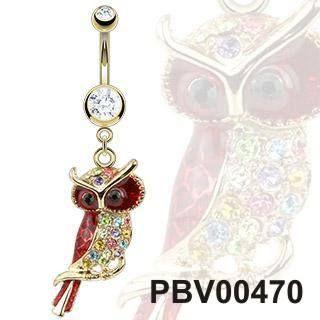 Pozlacený piercing do pupíku PBV00470 s motivem sovy. Kvalitní a elegantní piercing pro Tvůj pupík! http://www.piercingate.cz/piercing-do-pupiku-sova-pbv00470