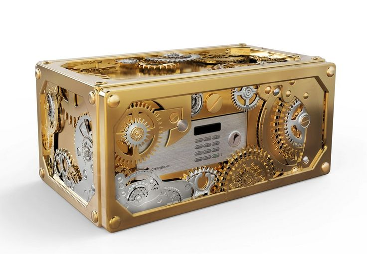 BARON LUXURY SAFE   It's full of brass and stainless steel gears all aroud the outside. It's opening system works with an automatic engine that works with a remote.   www.bocadolobo.com #bocadolobo #luxuryfurniture #exclusivedesign #interiodesign #designideas #homeofficeideas #luxurysafes #baron #gold #polishedbrass #whatchwinderhttp://www.bocadolobo.com/en/private-collection/luxury-safes/baron/