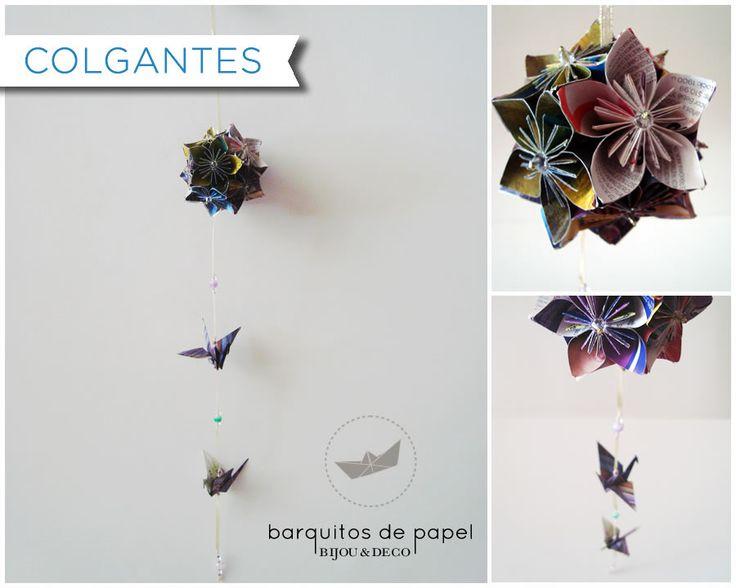 Colgante realizado en origami, reciclando papeles de revistas y volantes.