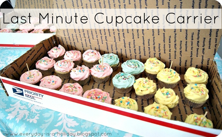 Awesome Idea! quick cupcake carrier made from shipping box
