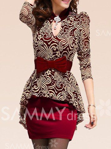 $14.76 Lace Splicing Packet Buttock Sexy Style Long Sleeves Peplum Dress For Women