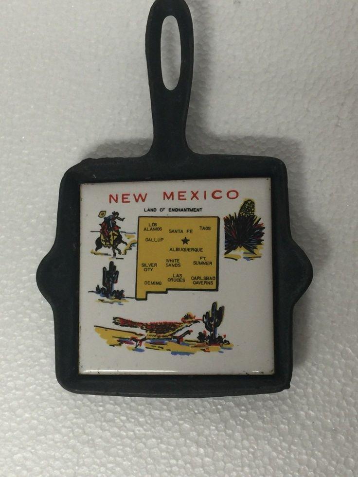 New Mexico Souvenir , Vintage Metal Cast Iron Ashtray Tile
