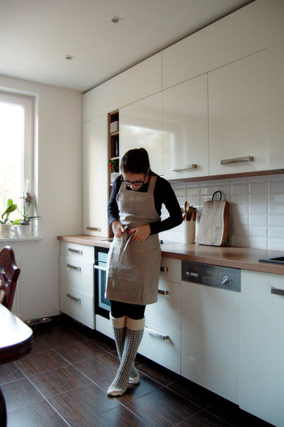 Rough grey linen apron linen kitchen dress by LovelyCraftsHome