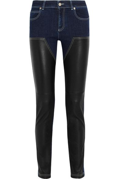 Givenchy - Skinny Jeans In Dark-blue Denim And Black Leather - Dark denim - FR38