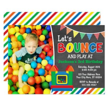 Bounce House Birthday Invitation with Photo - invitations personalize custom special event invitation idea style party card cards