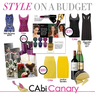 If your long list of things to buy is frightful, but celebrating the holidays is so delightful! If your budget is running low, then the Canary is your place to go! Celebrate holiday style on a budget with CAbi!