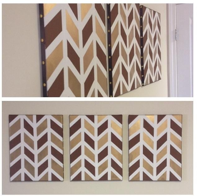 Set of 3 Chevron Canvases in Brown & Gold.  Painter's tape, paint, brown ribbon, and gold thumbtacks for the side trimming.  Project cost less than $20.