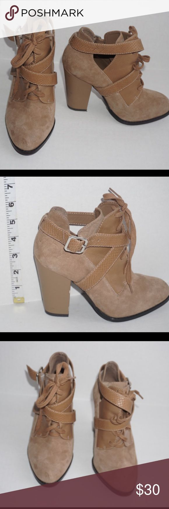 Gianni Bini brown booties Brown Gianni Bini Brown Suede Booties cross strapped lining and lace detail. In great condition. Gianni Bini Shoes Ankle Boots & Booties