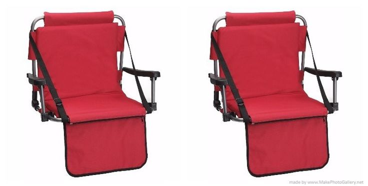 Set of Red Stadium Bleacher Chairs W/ Armrest & Padded Back by Barton Outdoors #BARTONOUTDOORS