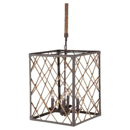 Showcasing a rectangular openwork shade crafted from twine and iron, this striking pendant adds an eye-catching touch to your foyer or living room.