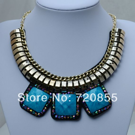 Chokers Necklaces Women,Thick Big Fashion Star Chain Necklace, Color:Rose Gold Chain and Blue Resin & Crystal, 2014 New Arrival