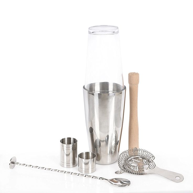 Boston Cocktail Set | Cocktail Shaker Set and Home Cocktail Making Kit, 800ml Shaker, Strainer, Muddler, Twisted Mixing Spoon, 25ml & 50ml Thimble Bar Measures, Giftbox: Amazon.co.uk: Kitchen & Home