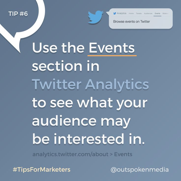 Twitter Analytics Events can help you learn more about your client's interests #tipsformarketers #socialmediastrategy #twittermarketing