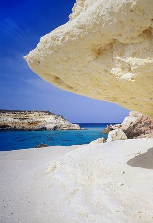 White beach & rocks, Lampedusa, Pelagie Islands, Sicily