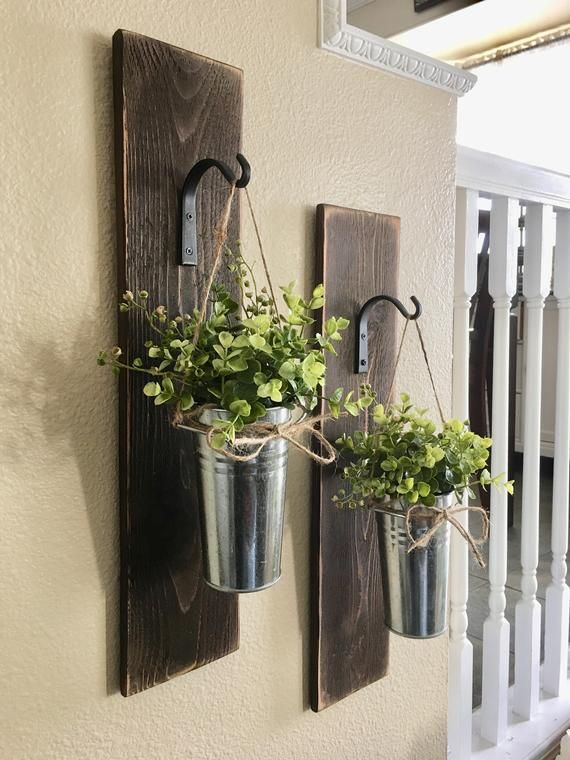 This Listing Is For A Set Is 2 Unique Wall Sconces With A Galvanized Bucket And Whispy Boxwood Or Flowers Rustic Wall Decor Country Wall Decor Cabin Wall Decor