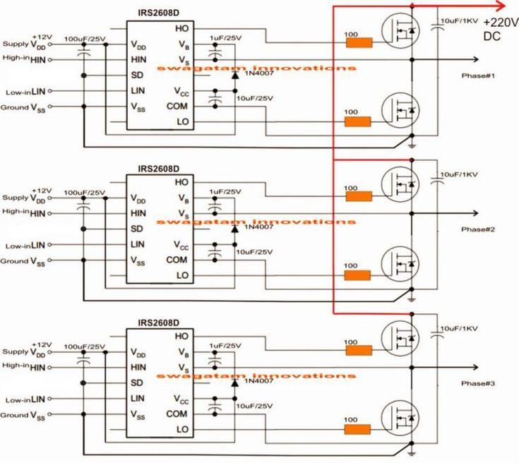 Arduino 3 Phase Inverter Circuit with Code Homemade