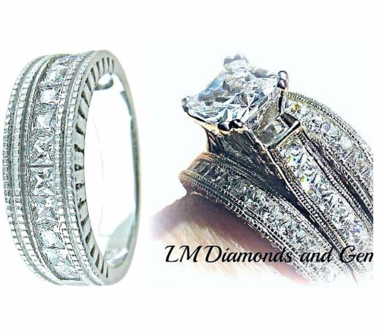14K WG Sterling Silver His Hers 4 piece Wedding Set Princess Diamond Bridal Ring #notapplicable