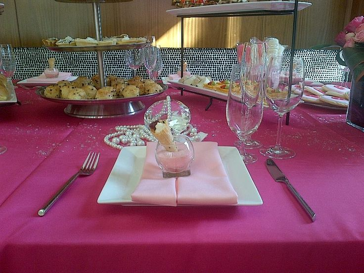 Barbie High Tea - White Square Plate, Milano Flatware, Water Goblet, 12.5 Wine Glass, Champagne Flute, Balloon Taster & Pink Ice Napkins | Chair-man Mills, Image from Pusateri's Fine Foods - www.pusateris.com