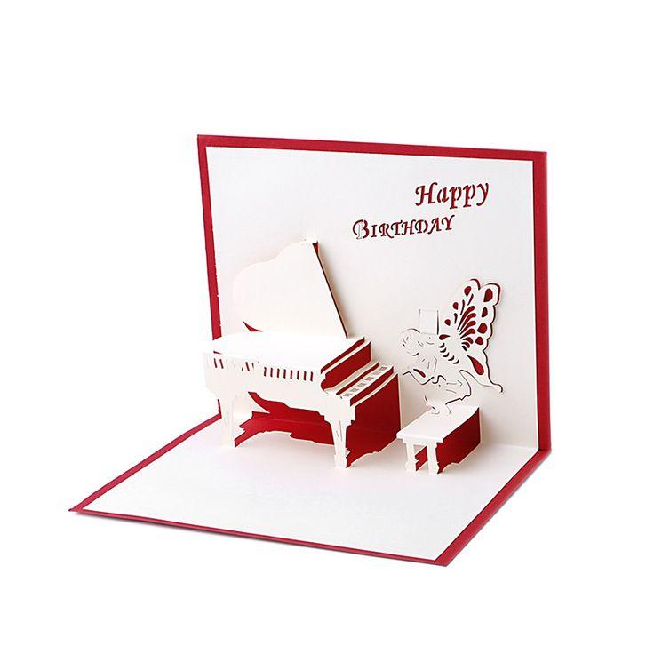 Birthday Greeting Cards 3D Laser Cut Happy Birthday Greeting Cards Piano Greeting Gift Card Postcards Handmade Custom Gift #Affiliate